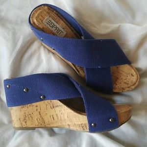 "NWOT Esprit Royal Blue ""Oceane"" Cork Wedges"